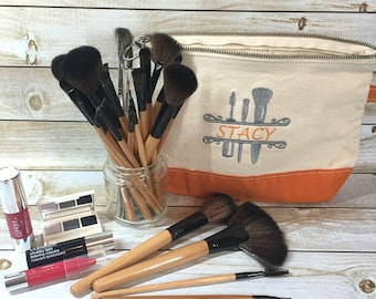 Canvas Cosmetic Bag - Makeup Brushes Monogram 7″ H x 11″ W x 3″ D