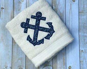 Anchor Applique Bath / Beach Towel