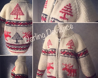 Made to Order Rocky Mountain Moose  Vintage Canadian Style Sweater