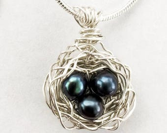 Bird's Nest Sterling Silver Pendant Blue Freshwater Pearls Necklace