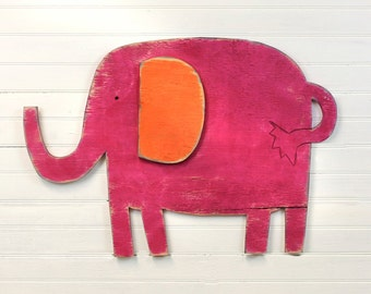 Baby Elephant Decor Nursery Wall Decor Kids Wall Decor Wooden