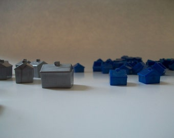 44 silver and blue game pieces | monopoly houses and hotels | game board pieces | gaming pieces | hotels and houses board game pieces