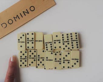 miniature dominoes | retro games | vintage ivory and black dot dominoes | pocket size | mini dominoes | miniature games supplies