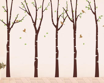 Tree Decals-Five Birch Trees Forest with Flying Birds- Nature Tree Wall Decal, Tree Forest Decals, Birch Trees Sticker, Tree Wall Art pt0301