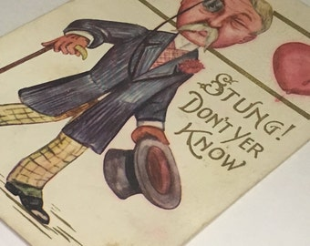 Early 1900s Valentine's Day Love Themed Postcard Stung Dont Yer Know