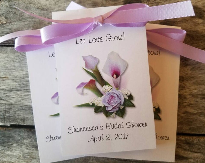 Personalized Calla Lily Design Wedding Favors Bridal Shower Favors Reception Favors Lilies Birthday Anniversary Seeds Party Favors SALE