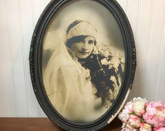 Antique sepia bride portrait - framed turn of century wedding ensemble - 1900s vintage - instant ancestor