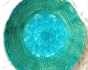 Ceramic Bowl, Turquoise lace bowl, serving bowl, lace pottery, textured pottery, salad bowl, prep bowl, pottery bowl, vintage doily bowl