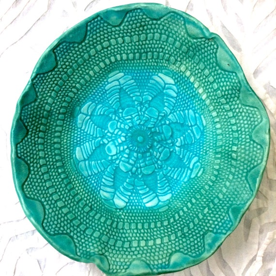 Ceramic Bowl, Turquoise lace bowl, serving bowl, lace pottery, textured pottery, salad bowl, prep bowl, pottery bowl, vintage doily bowl