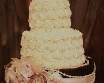 Sash Wedding cake sash lace burlap Cake flowers Fabric flowers wedding cake decoration Rustic wedding cake Burlap wedding cake flower decor