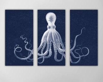 Octopus Triptych, Octopus Nautical Art Print, Lord Bodner's Octopus, Navy Octopus Wall Art, Nautical Art Octopus, Giant Octopus Wall Art