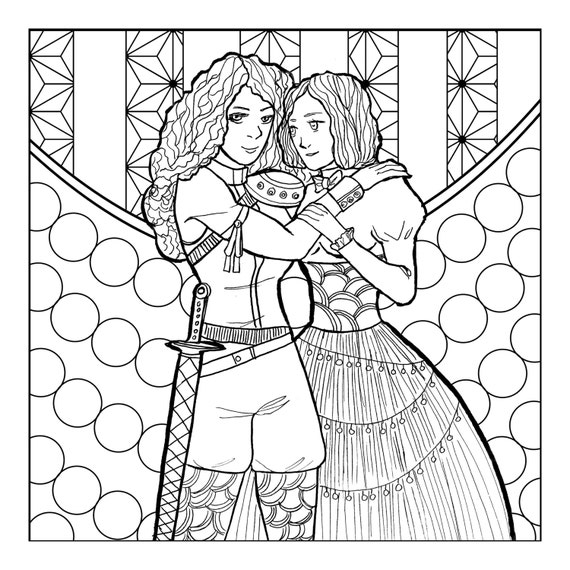 Sweet Girlfriends Coloring Book PDF Lesbian Lgbt Queer Sapphic Wlw Anime Manga Illustration
