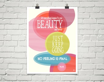 No Feeling Is Final 18x24 Art Poster Giclee Typography Mod Rilke Lisa Weedn