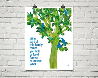 Being Part Of This Family 18x24 Art Poster Giclee Typography Birds Tree Lisa Weedn