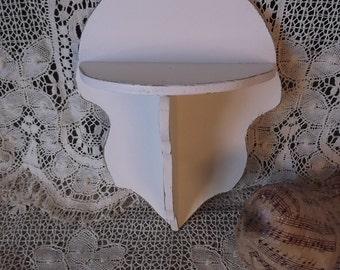 Vintage Shabby white wood shelf, petite shelf, statue display shelf, wall shelf