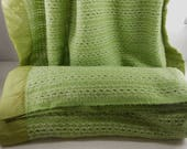 PAIR 2 Vintage Blankets Acrylic Lime Moss Green White Open Weave CHATHAM North Star