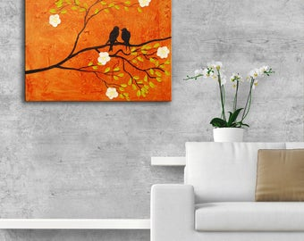 Original Modern Abstract Birds Painting, Impasto flowers, Tree Birds Painting, textured orange brown painting birds painting