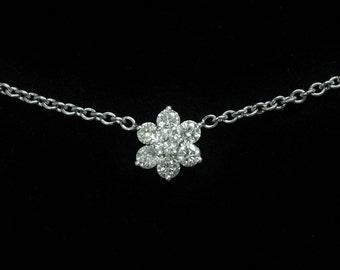 "14K 1 TCW Diamond White Gold Necklace 15"" long"