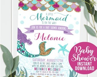 Mermaid Baby Shower Invitation,   Mermaid Purple Gold Sparkle,  Baby Shower,  Under The Sea Baby Shower - Instant Download and edit