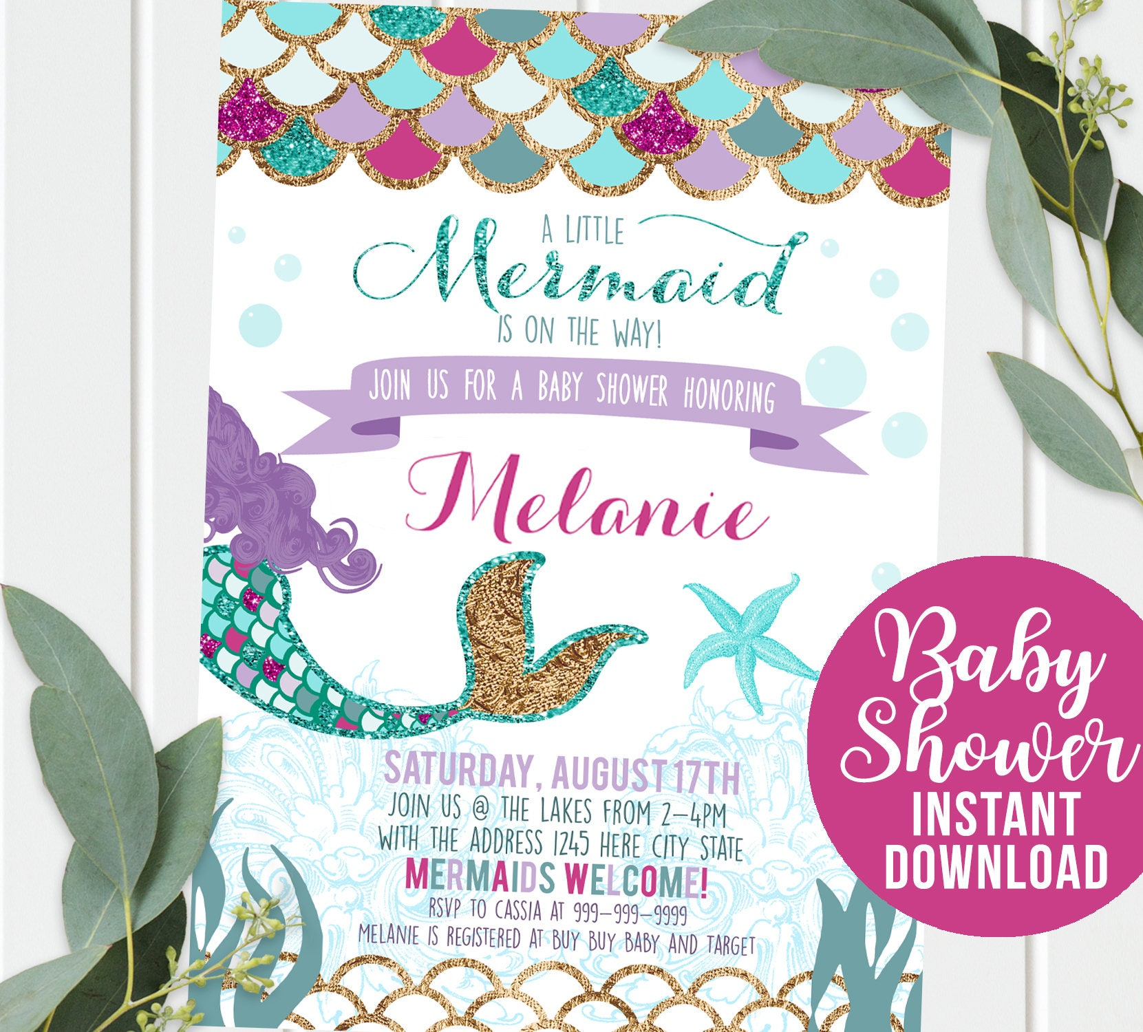 Mermaid Baby Shower Invitation Mermaid Purple Gold Sparkle