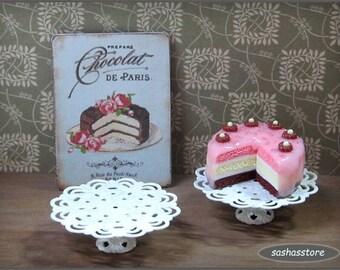 Shabby chic miniature cake stand, cake display, dollhouse miniature, cake holder, miniature serveware