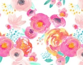 Design Your Own -Bright Watercolor  Floral  - changing pad cover, rail covers, boppy covers, sheet,  skirt, bumpers