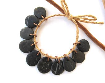 Rock Beads Small Mediterranean Natural Stone River Stone Jewelry Supplies Pairs Copper BLACK CHARMS 15-18 mm