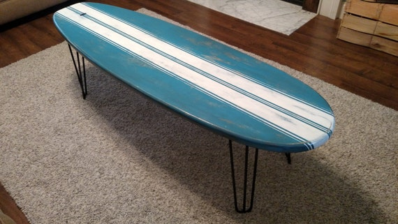 Surfboard coffee table wooden weathered surfboard table surf - Table planche de surf ...