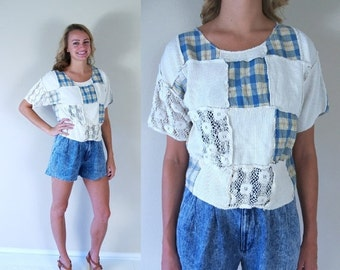 Sale vtg 90s Cream PATCHWORK crochet lace CROP TOP Sm/Med grunge Express cropped India shirt blouse plaid waffle knit