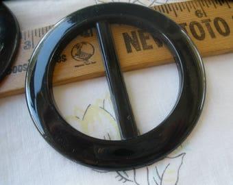"""Basic Shiny Black Plastic Buckle Scarf Slide Round 1 7/8"""" to 2"""" opening sewing t-shirt slide novelty retro ribbon embellishment plain 2.75"""""""