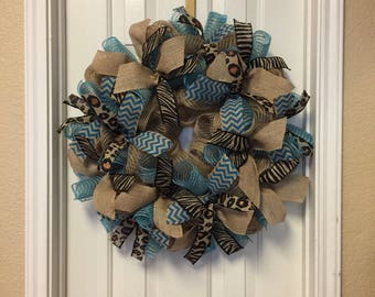 Burlap Wreath  Turquoise Animal Print Deco Mesh Wreath Wreath