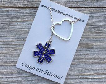 EMT, EMS, Paramedic  Lariat Necklace with Rhinestones and Heart, handmade jewelry, pendant, graduation, birthday gift, Christmas, mom, sale