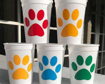 Paw Print Cups for Dog Puppy Cat Kitten or Pet Party - Primary Color Cat and Dog Collection