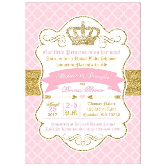 Princess Gold Crown Invitation Printable Or Printed With