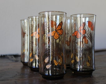 6 Vtg Butterflies and Wheat Glasses 16 OZ