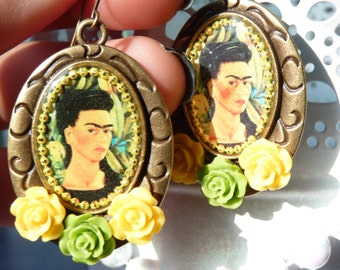 FREE SHIPPING Frida Kahlo Handmade Resin Dangle Earrings - Mexican Art - Gift Ideas - For Her - Vintage Inspired - Frida Earrings