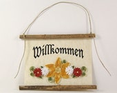 Willkommen, German Welcome, Paper Quilled German Welcome Sign, 3D Quilled Banner, Paper Flower Decor, Yellow White Rust Decor, Germany Gift
