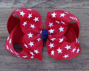 4th of July Hair Bow~Patriotic Hair Bow~Red Boutique Hair Bow~July 4th Hair Bow~Boutique Hair Bow~Large Boutique Bow~Military Hair Bow