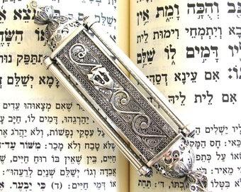 "Unique Mezuzah, Filigree Art, Exclusive Mezuzah, 4.5 X 1.2"", Sterling Silver Mezuzah, Jewish Holiday Gift, Judaica, Mezuzah Scroll ID543 [p]"