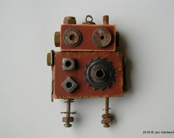 Robot Ornament - Big Rusty Bot - Upcycled Ornament - Hanging Decor by Jen Hardwick