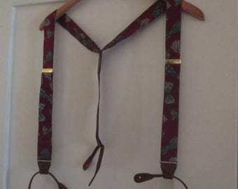 Vintage Silk Suspenders Y Back Button End Bowtie Pattern Fabric Regular