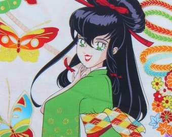 Miss Butterfly by Alexander Henry,  Kawaii Fabric, Indochine,  Asian Geisha, Over Sized,  Anime, Manga, By the Yard, Natural Background