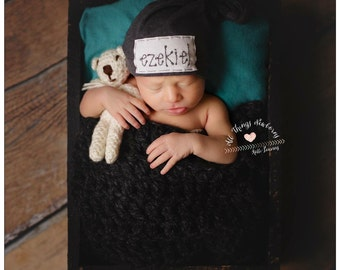 BLACK: Baby name hat, newborn hat, declan hat, personalized hat, knot beanie, photography prop, name hat, knots, hospital hat