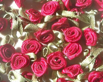 Red Wine Ribbon roses w/leaves-12mm-25 PCS