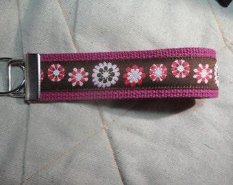 Fun Jacquard Woven Print Ribbon Key Fobs in Flower Power
