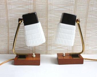 1960s accent lights / bedside table lamps. Teak , white glass, brass. Danish minimalist midcentury modern style
