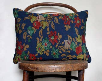 Blue Floral Decorative Pillow Cover. blue Yellow Green . Natural Recycled Vintage Kimono Wool / Natural Linen.
