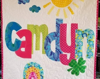 The Original Personalized Quilt Crib/Toddler, Baby Quilt, Raw Edge Applique Quilt, Name Quilt CC3652