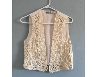 90's Off White Scribble Vest, Women's S-M
