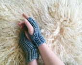 OOAK Indigo Dyed Fingerless Gloves | Handwarmers | Knit Gloves | Ribbed Gloves